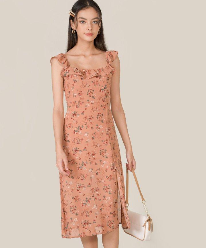 Rosé Floral Ruffle Midi Dress