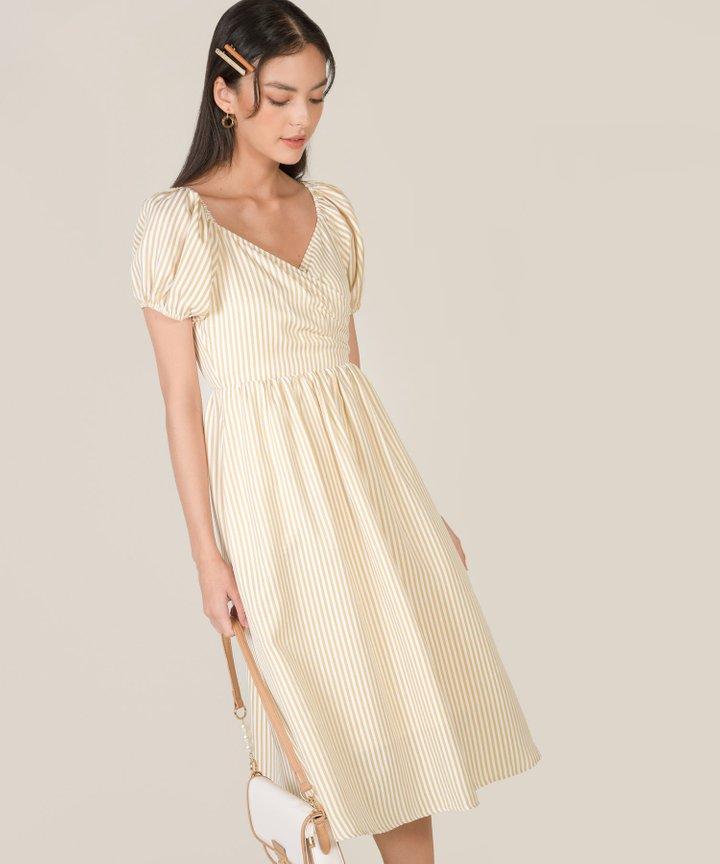 Sinclair Striped Puff Sleeve Midi Dress - Golden Honey