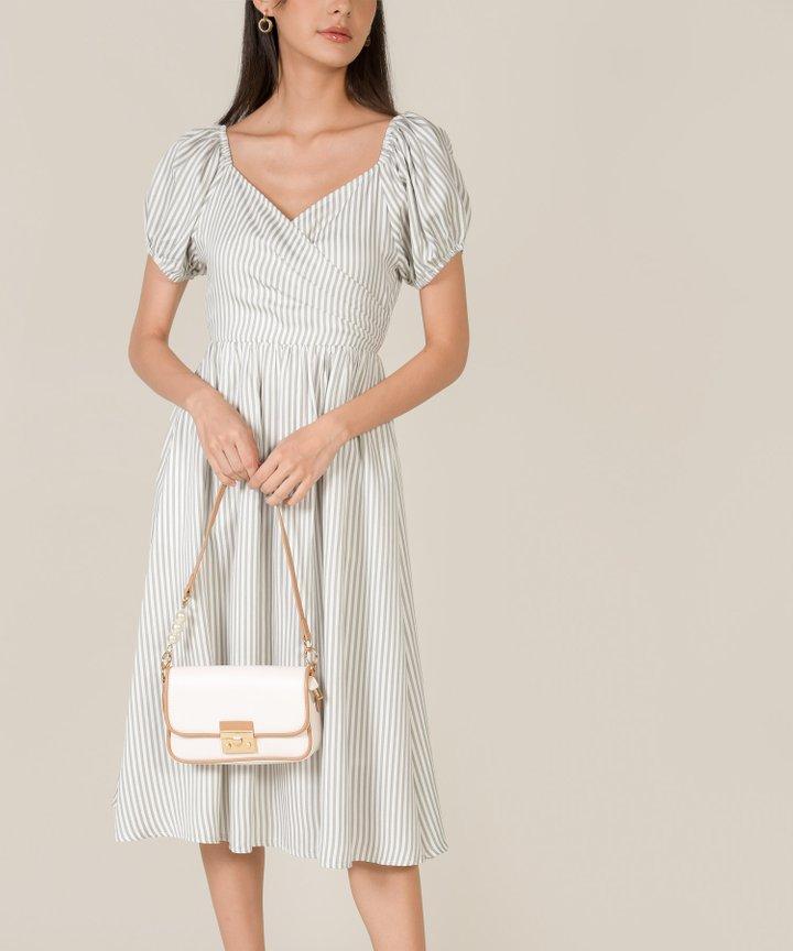 Sinclair Striped Puff Sleeve Midi Dress - Pale Grey