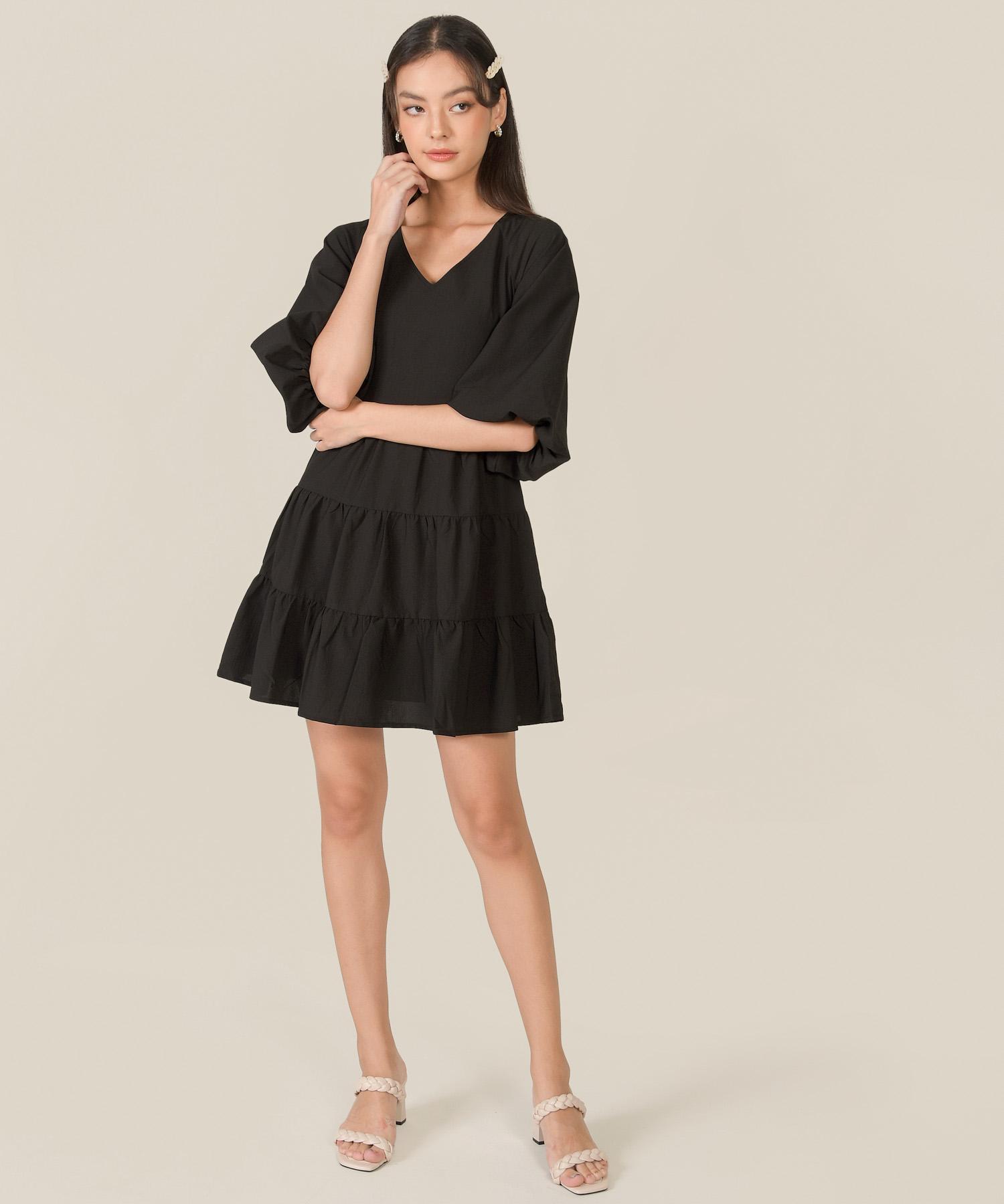 bellina-puff-sleeve-tiered-dress-black-1
